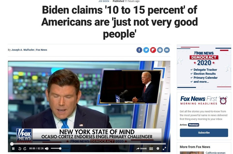 Biden claims 10-15% of Americans are not very good people. .. Despite... 🤡