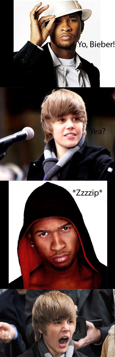 """Bieber's Ushers . My second Bieber meme. Idea from SeanMcG in my first Bieber pic:<br /> <a href=""""pictures/530930/Bieber+sees+boobs/"""" target="""