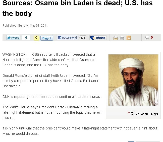 BIN LADEN IS DEAD!. Inform the Funnyjunk Nation, Share the link.. Sources: Osama bin Laden is dead; U. S. has the body Published: Sunday, May C) 1, 2011 WASHING
