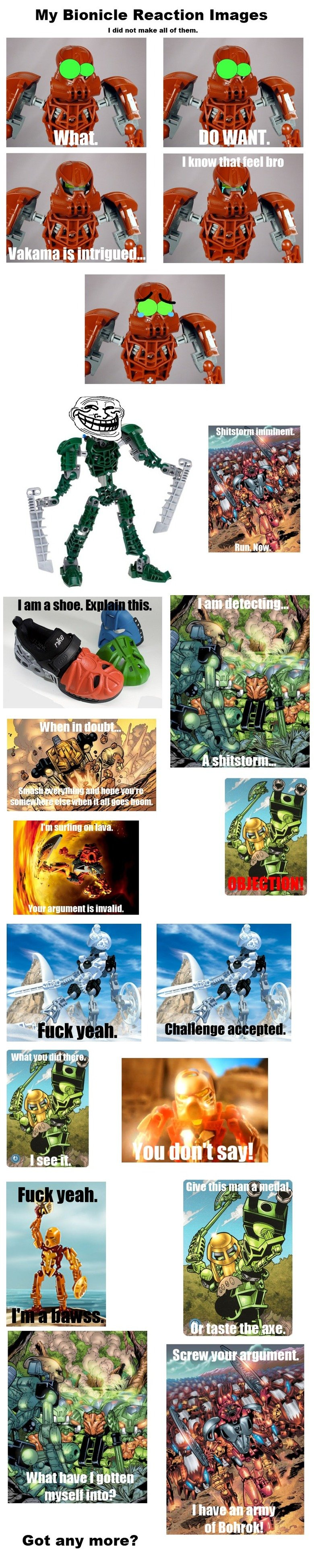 """Bionicle Reaction images. If you liked this, take a look at these! . My Bionicle Reaction Images I did not make all of """"lam. Got any more?"""