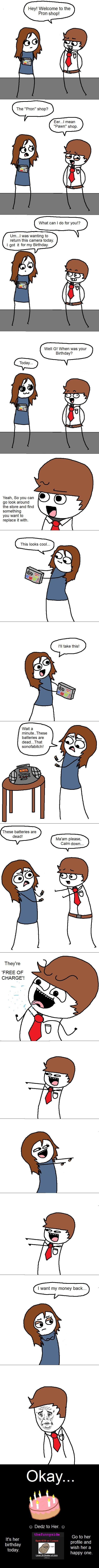 Birthday Batteries.. So you might have seen the same joke before on here, But I made this comic for her birthday a hellofah long time ago, And couldn't upload i