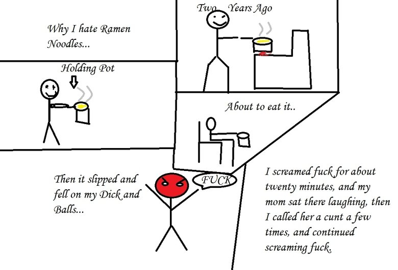 Ramen Noodles. Still sort of new at this, so my illustration isn't the best, but this did happen to mean, and let's just say, it hurt like a bitch... hahahahahahaahahahahahahahahaha