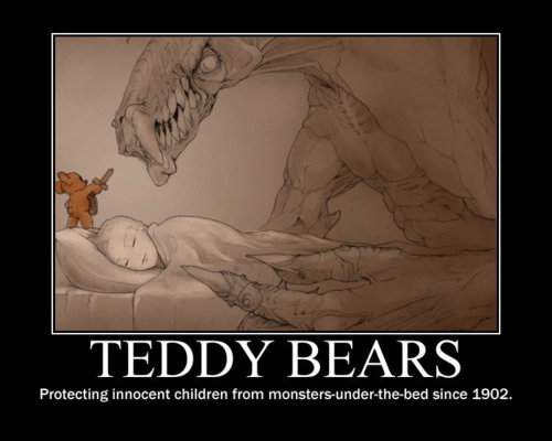 Blergh. feeling like blergh so heres my first post just something i found . Protecting Innocent children from since 1902.. the bear the monster is protecting me