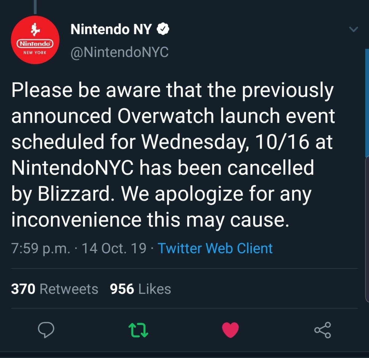 Blizzard Cancels Event. .. Someone post the 'It's Afraid' image from Starship Troopers please, or the gif/webm. Comment edited at .