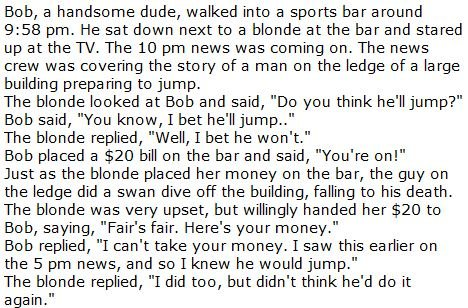 Blonde Joke. just for lulz...<br /> don't forget to comment and rate. Bob, a handsome dude, walked into a sports bar around 9: 58 pm. He sat down next to