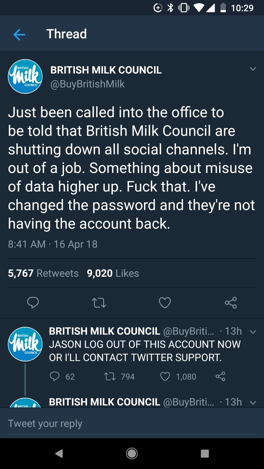 BMC. . Thread BRITISH MILK COUNCIL Just been called into the office to be told that British Milk Council are shutting down all social channels. I' m out of a jo