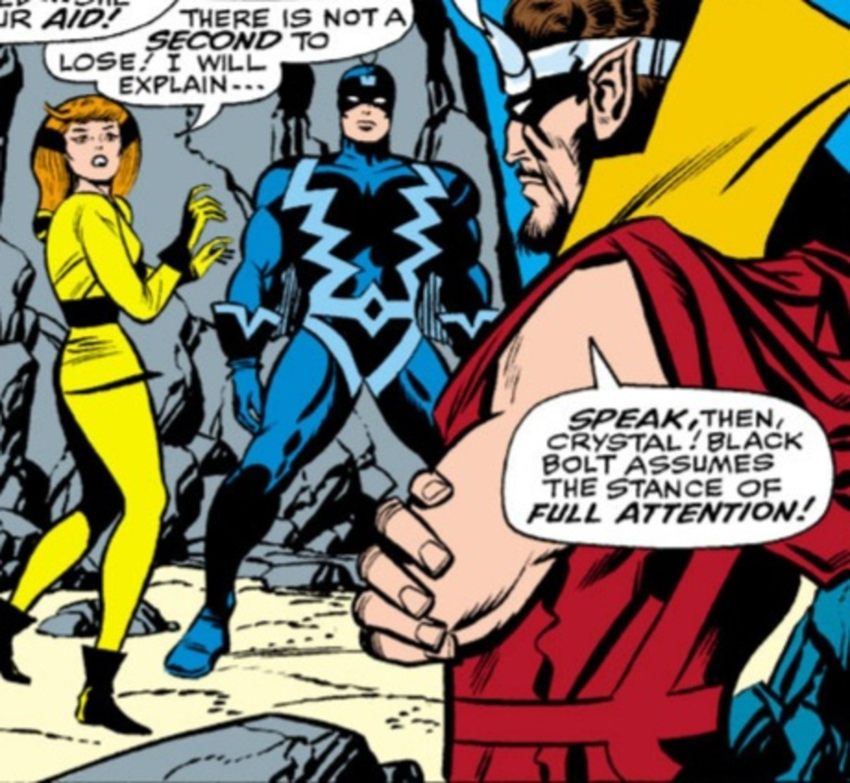 Body Language. Fantastic Four (1961) Issue #62 .. Isn't black bolt the dude with the destructive voice? How is he yelling?