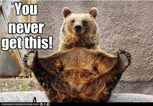 Borat bear.. LALALALALA.. i need a hug