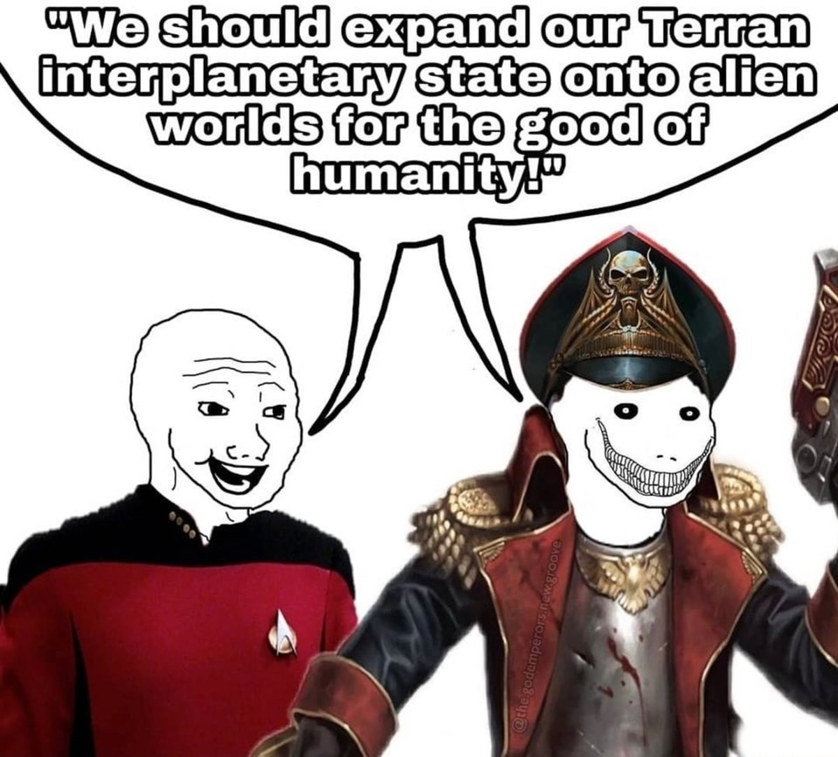 Both want the same. .. I'm pretty sure before the eldar Slaanesh into existence, mankind was pretty much Star Trekking around making friends with aliens, developing new tech, being op