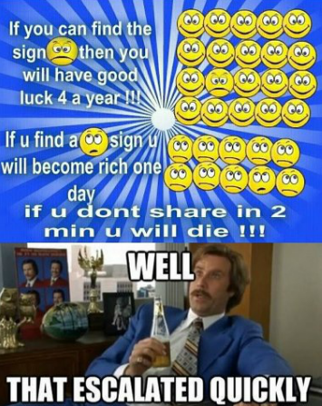 """boy.... not oc, but i didn't want to die so i posted it. If you can find the will have """" u ant share in 2 retart u will die HI. Why does everyone use that wrong picture!"""