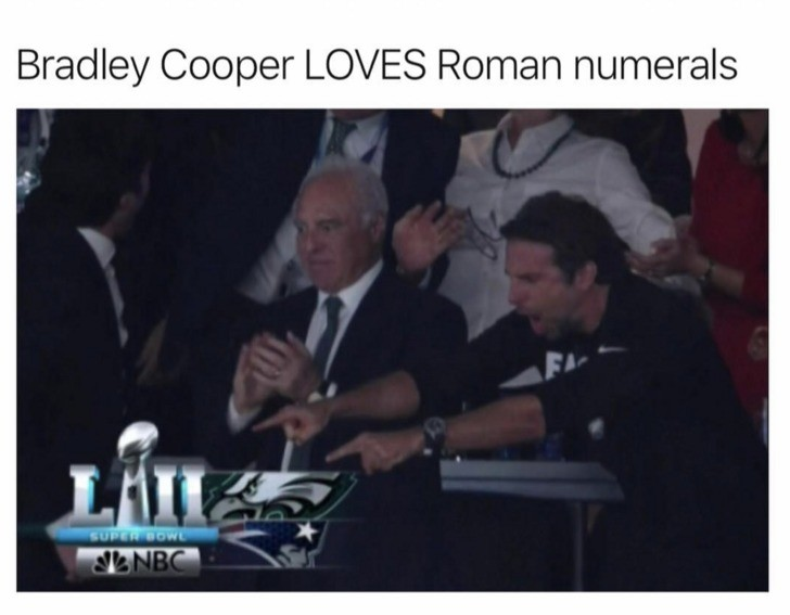 Brad Cooper. . Bradley Cooper LOVES Roman numerals. this owl was hard because alot of the celebrities i like were rooting against the goat