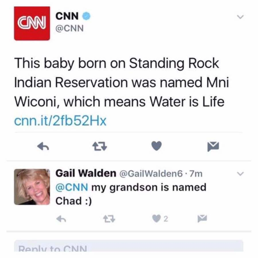 """BREAKING CNN NEWS. . CNN This baby born on Standing Rock Indian Reservation was named / lni Wilona, which means Water is Life Gail Walden . 1''."""" d @CNN my gran"""