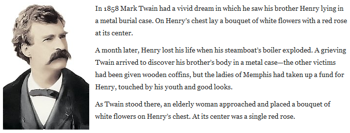 Brick ting. A history. Bricks were shat way back when too.... In 1353 Mark Twain had a vivid dream in which he saw his brother Henry lying in a metal burial cas