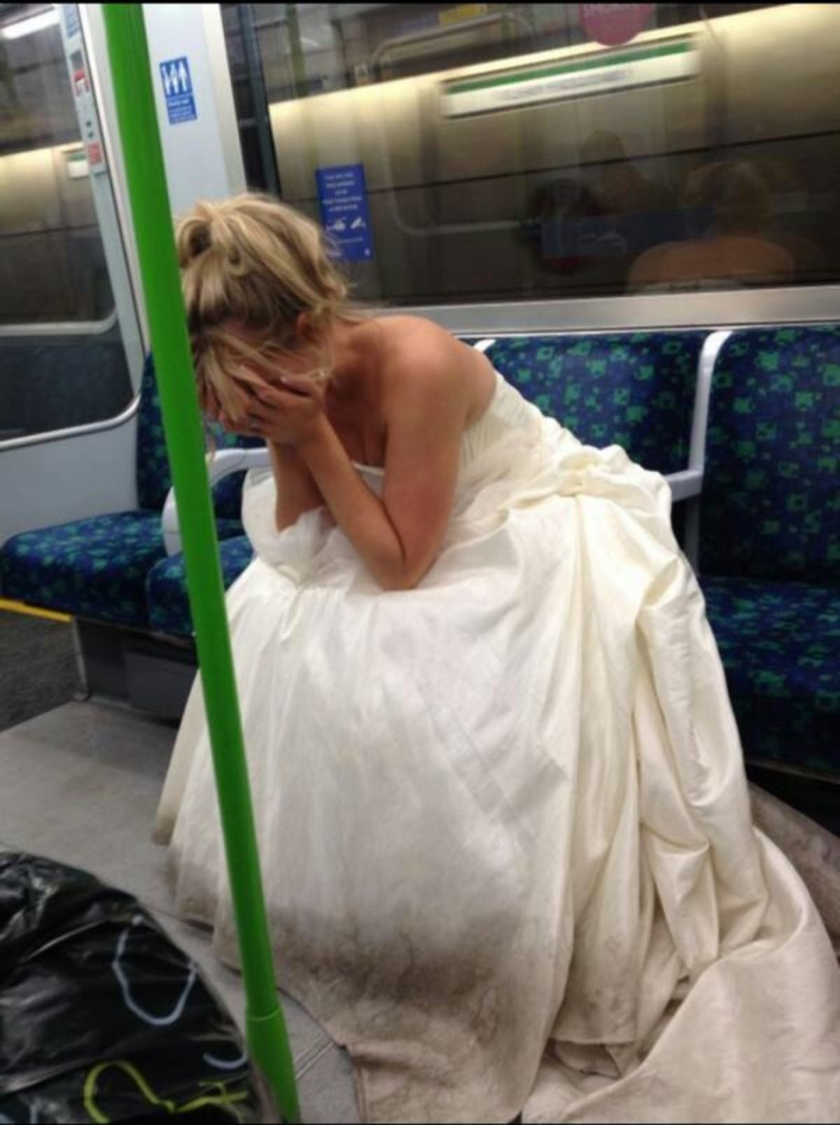 Bride on the bus. THIS WILL CHEER HER UP!.. STORY The 'Stamford Bridge Bride' whose photo went viral on Twitter has put the record straight about her marriage. Thousands saw an image of Hannah Booth sitti