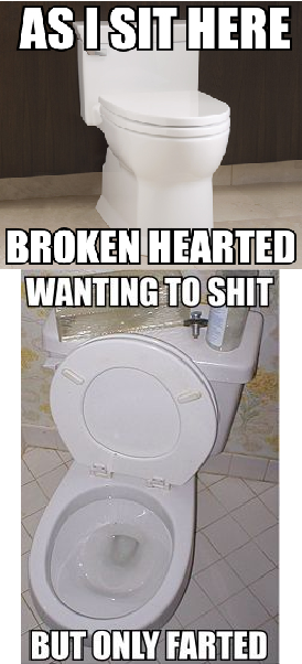 """Broken Hearted. Bad Humor Toilet in,""""Broken Hearted."""" A warm take, on an empty handed classic.. INTHERE. story of my life"""