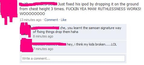 """broken. Screenied this and decided it was worthy to post on FJ<br /> Not condoning dropping your kids to """"fix"""" them xD. fixed his ipod b"""