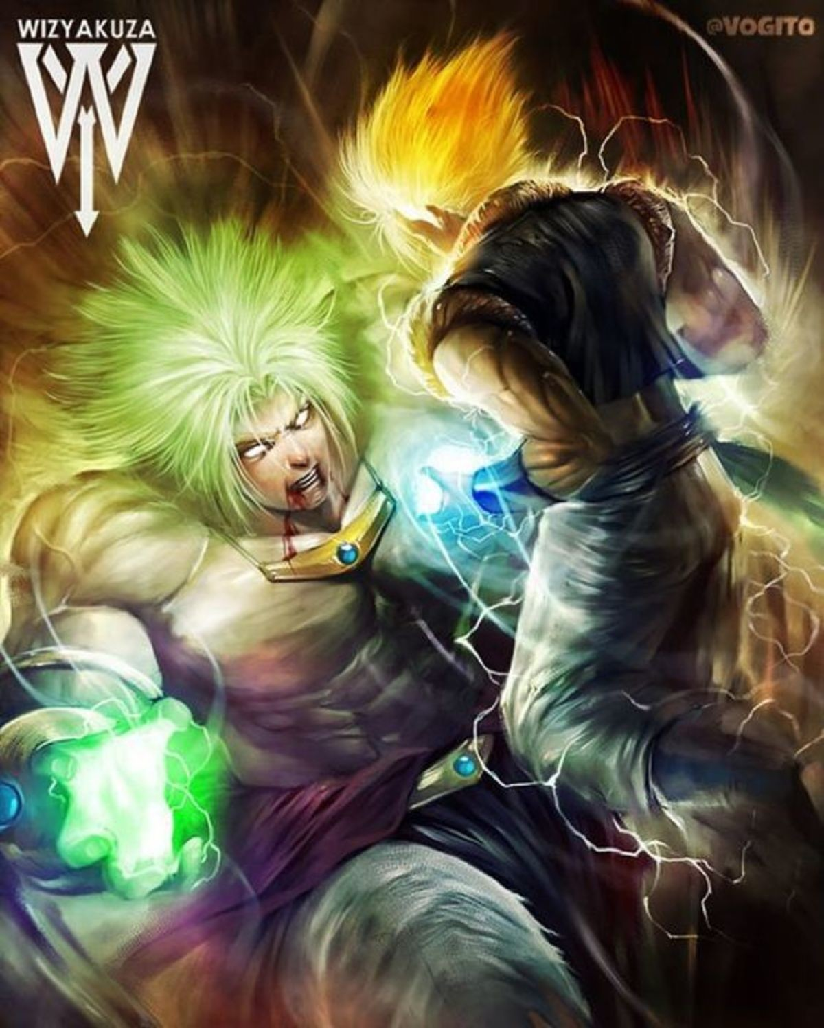Broly Vs Goku. Gogeta maybe?..  Eh, that's old Broly, so just pop his