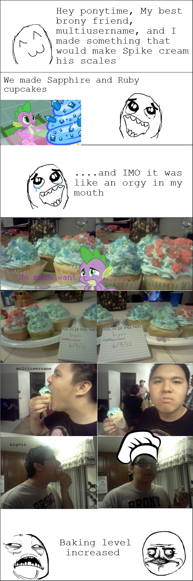 Brony Baking. Major dedz to multiusername, even though he almost up the recipe twice If this does well we will probably make more.. Not bad, not bad. But I still prefer rainbow flavored cupcakes myself.