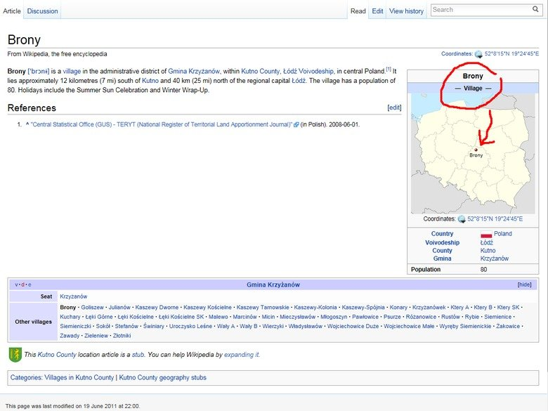 """Brony, Poland.. . Article Discussion Read Edit View history Brony From Wikipedia, the free encyclopedia Coordinates: tir 52"""" s' 15' N 19'' 24' 45' E Brone ['bro"""