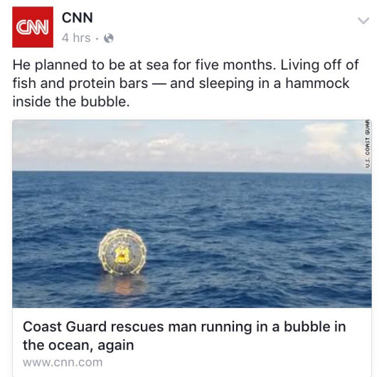 bubble life. . sh' CCNN chrs,. He planned to be at sea for five months. Living oft of fish and protein bars - and sleeping in a hammock inside the bubble. Coast
