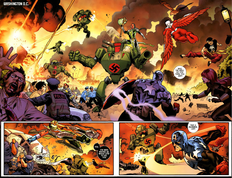 Bucky Falls. Captain America (Bucky) falls in battle, against the forces of the Serpent! Fear Itself, issue 3!.
