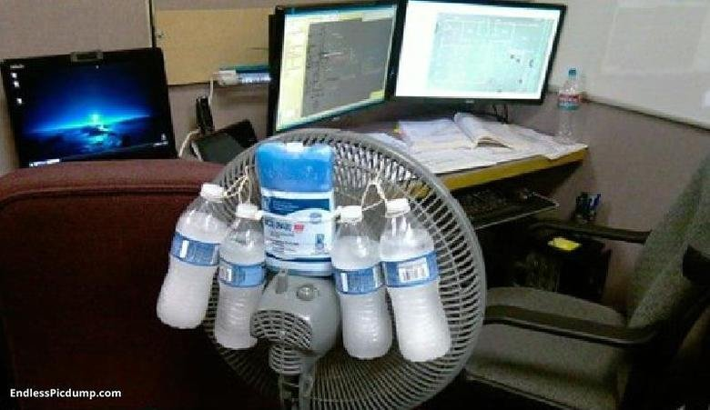 Budget cooling system. works better than fridge.. You'd still need that fridge for the ice.