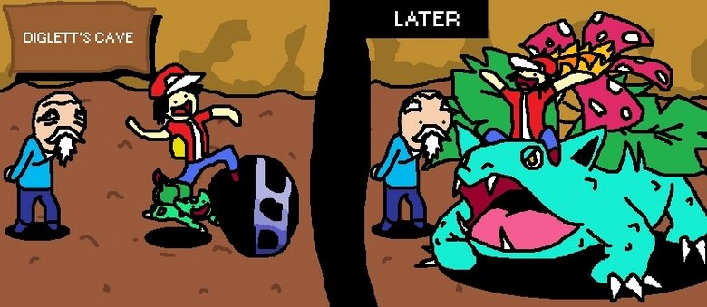 bulbasaur. . i? CAVE. LOL SO TRUE not to talk about the bird ones that cant be affected by them! xd