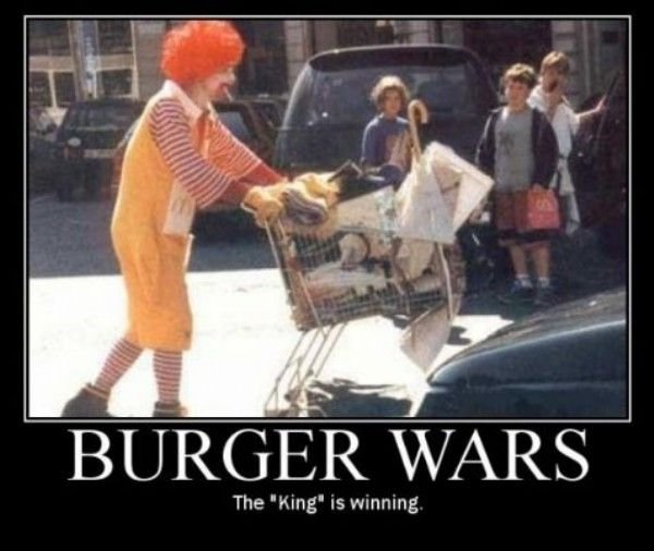 Burger Was. King is winning. The ''Ffing'' is warming. Burger Was, uhh spelling fail. u mean Burger Wars?