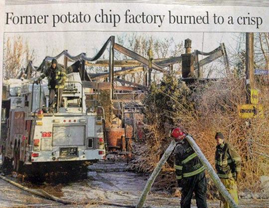 "Burning Talent For Headline Puns. Burning Talent For Headline Puns . Chip l"" Burned I at crisp. Author's fw pun"