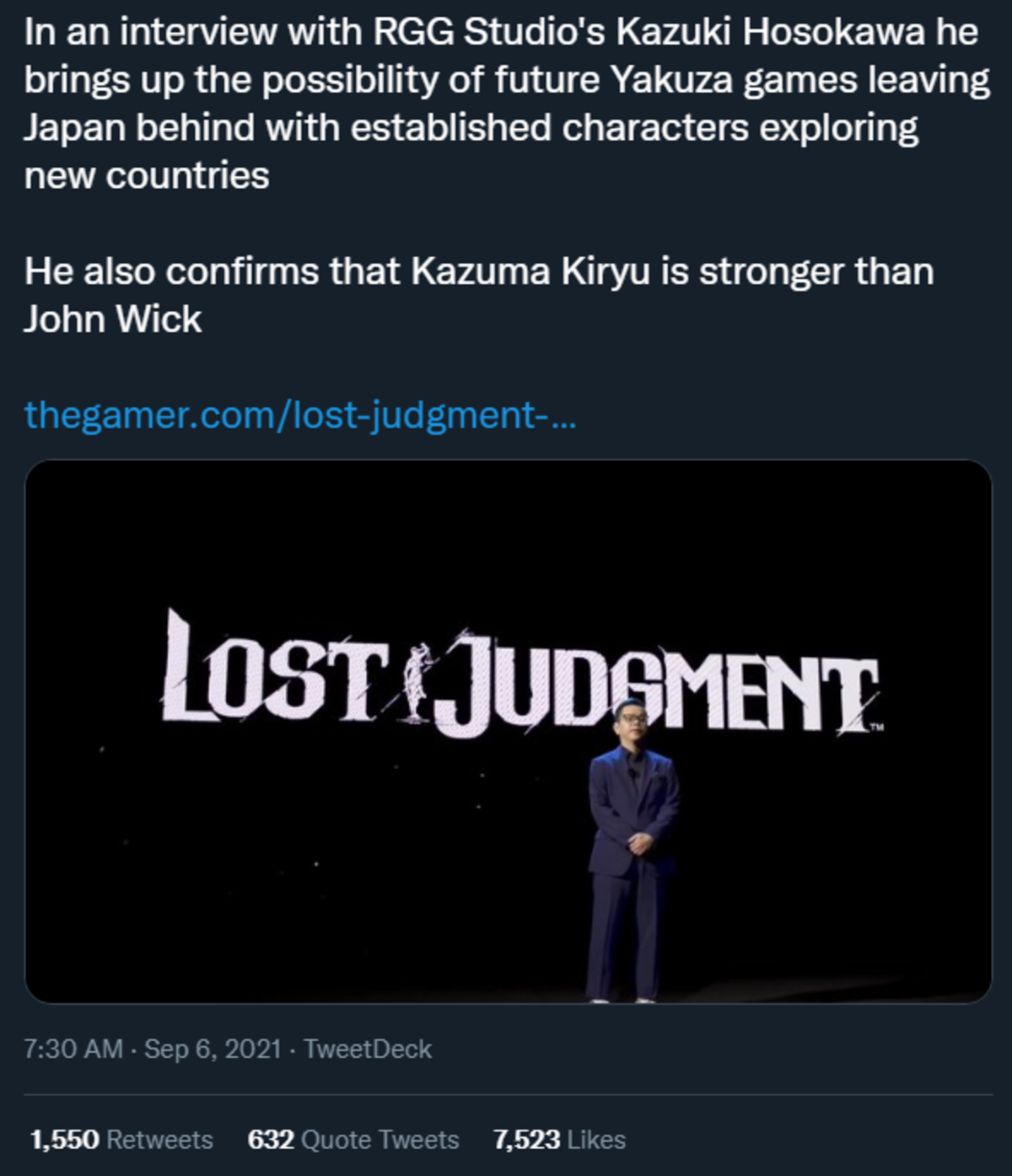 But what if Kiryu hurt John Wick's dog?. .. Unfair comparison really, John wick isn't a strong powerhouse type guy. Kiryu literally punches tigers in the sidequests of his games. An argument of fisticuffs