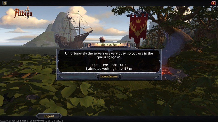 """buy Albion, they said ... it's gonna be fun, they said.... . Unfortunately the servers ore very busy, so you ore in the Queue position: 3419 '.. i.""""' Estimated"""