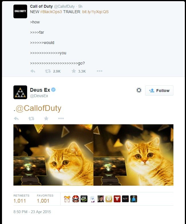"""Call of Duty: Human Revolution. Eidos Montreal responds to the latest Black Ops III reveal beautifully.. Call of Duty :i.?.. C) callofduty - Sh BMW"""" NEW .."""" TRA"""