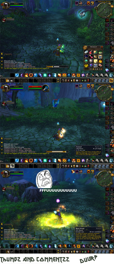 Casting FFFUUUU. lvl 80 fire mage casting imba spell FFFUUU.. Musta been a while ago... still has PVP marks in his bags ;x
