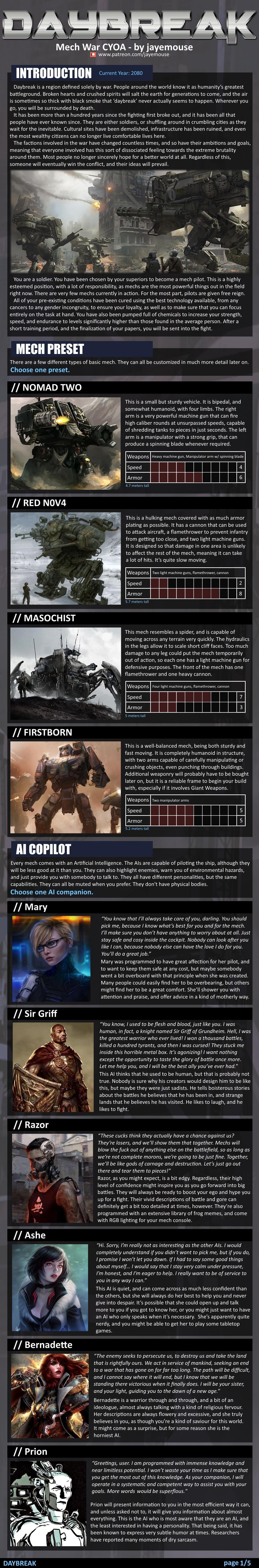 Daybreak cyoa . what is better a gun with high rate of fire, but it has small caliber or gun low with low rate of fire but it ha big caliber.. I always get sad when I see giant tables like this thinking it would make for such an awesome fps game but it will never be more than a dream... just a little s