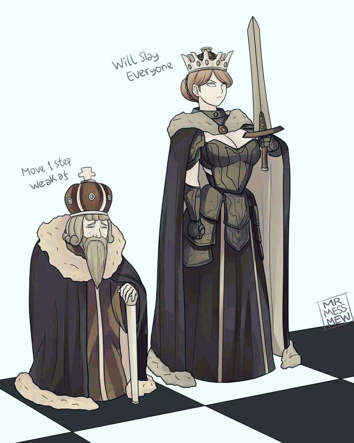Difference in power. .. >not using the king as a pawn assassin