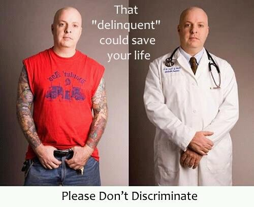 """Don't discriminate. Sorry it's not funny.. I thought it said something about people. Sorry.. That delinquent"""" could save we life Please Dean' t Discriminate. he isnt a delinquent, hes white"""