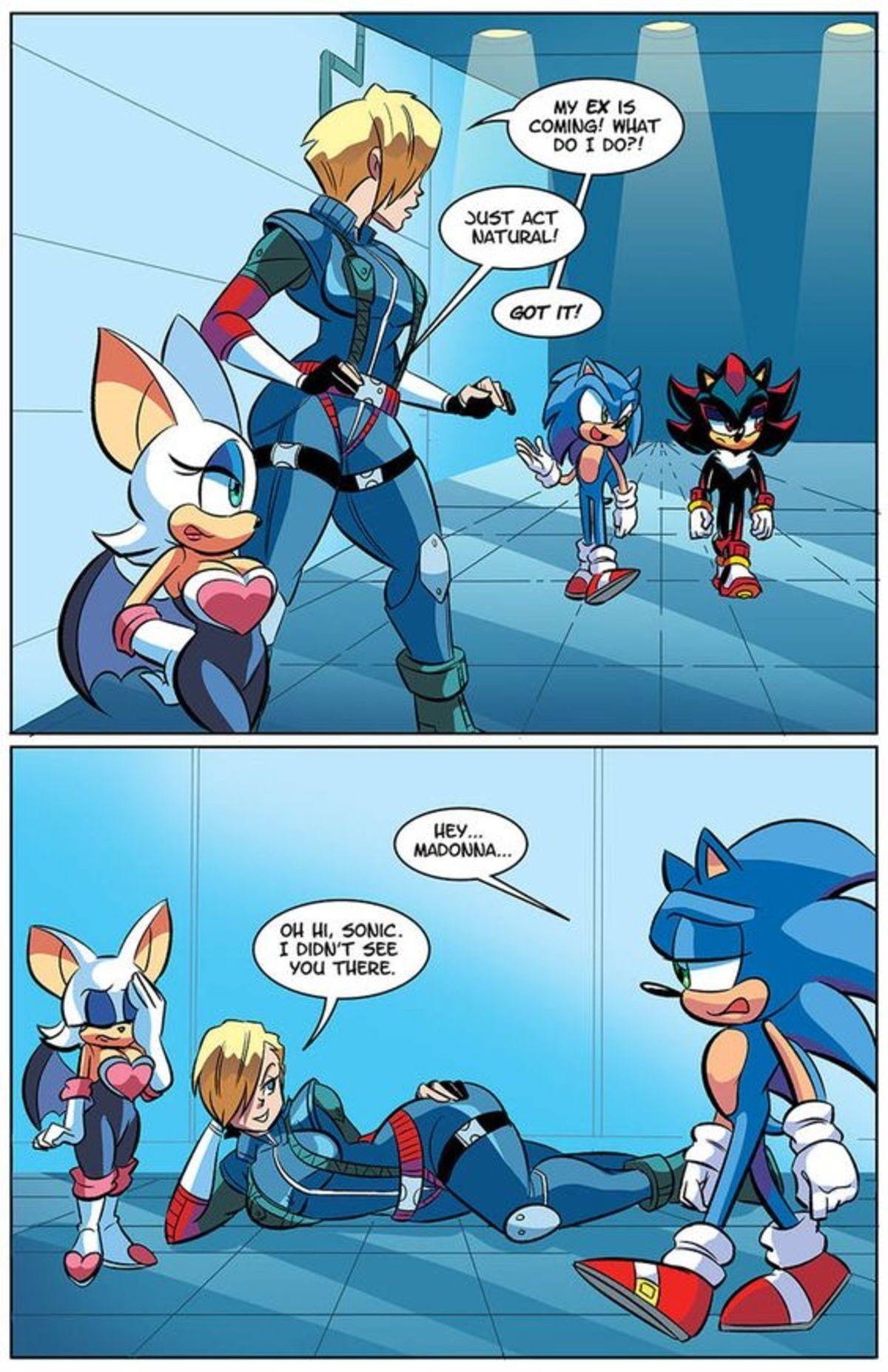 Exes. .. god I am so glad that sega got rid of madonna when they made the original games it'd be so weeeeird to have a furry little guy dating a human. So glad that neve