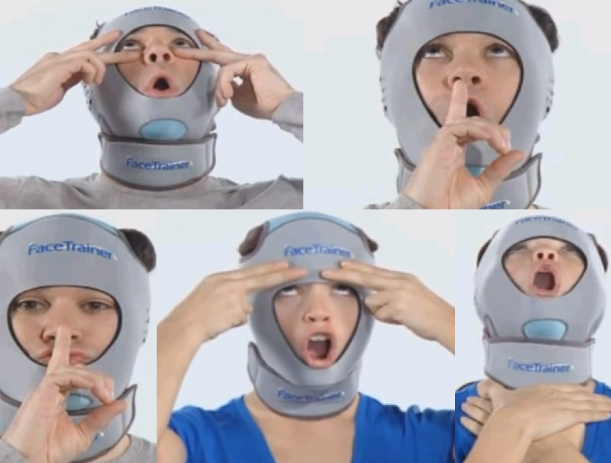 Face Trainer. The many exercises for the face trainer..
