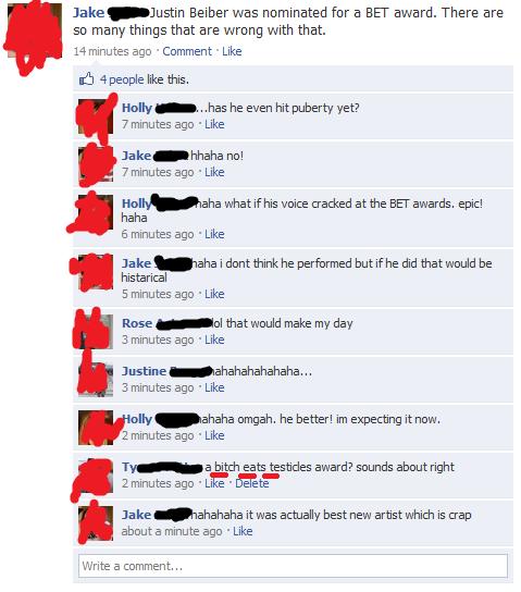 facebook fag. justin is a fag.