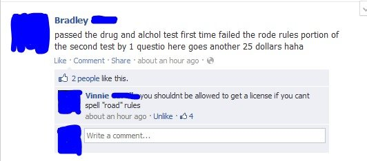 Facepalm. The tags are true. Brad by - passed the drug and acohol test first time failed the rode rules portion of the second test by 1 questio here goes anothe