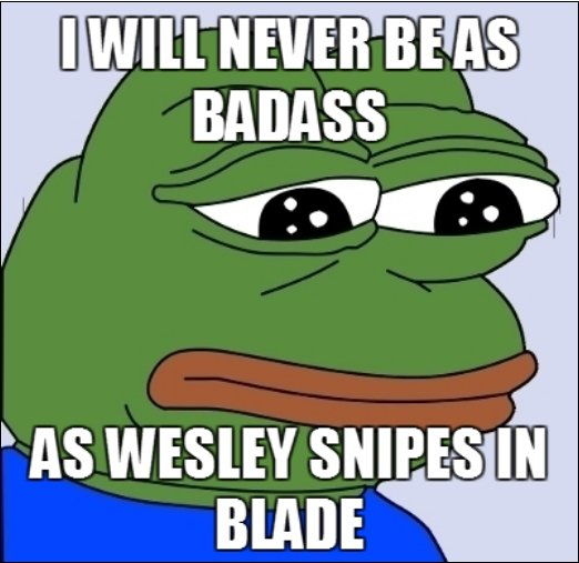 """Feels bad man. OC. AS WESLEY WIPES Bl MADE. and I will never be as gay as Wesley Snipes in """"to wong foo"""""""