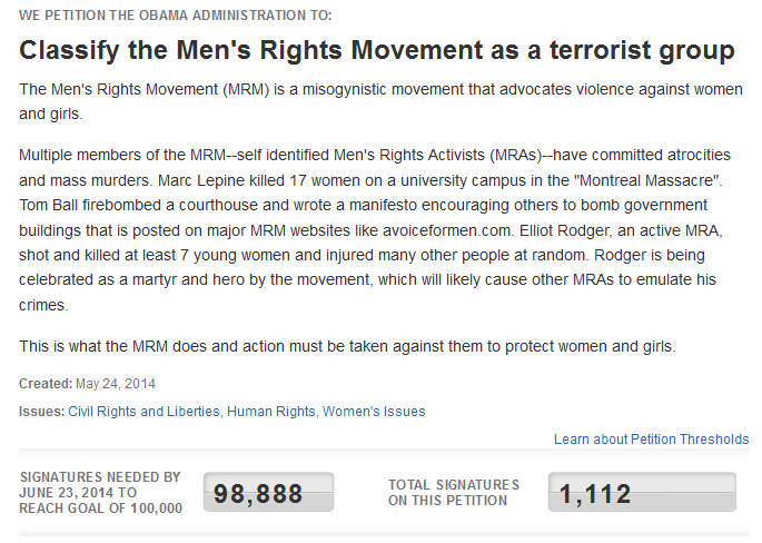 Feminism is a joke. . WE PETITION THE BBAMA ADMINISTRATION TD: Classify the Men' s Rights Movement as a terrorist group The Men' s Rights ifmovement (MRM) is a