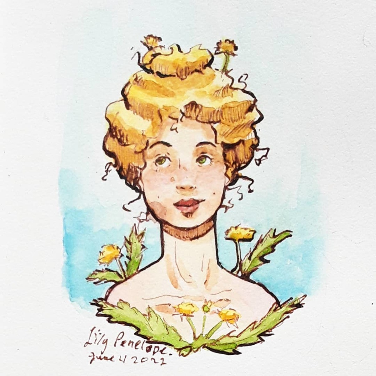 Flower Girls: Dandelion. I used colored ink, dip pens, and water color. join list: WatercolorAndOrInk (43 subs)Mention History I'm going to be posting a new wor
