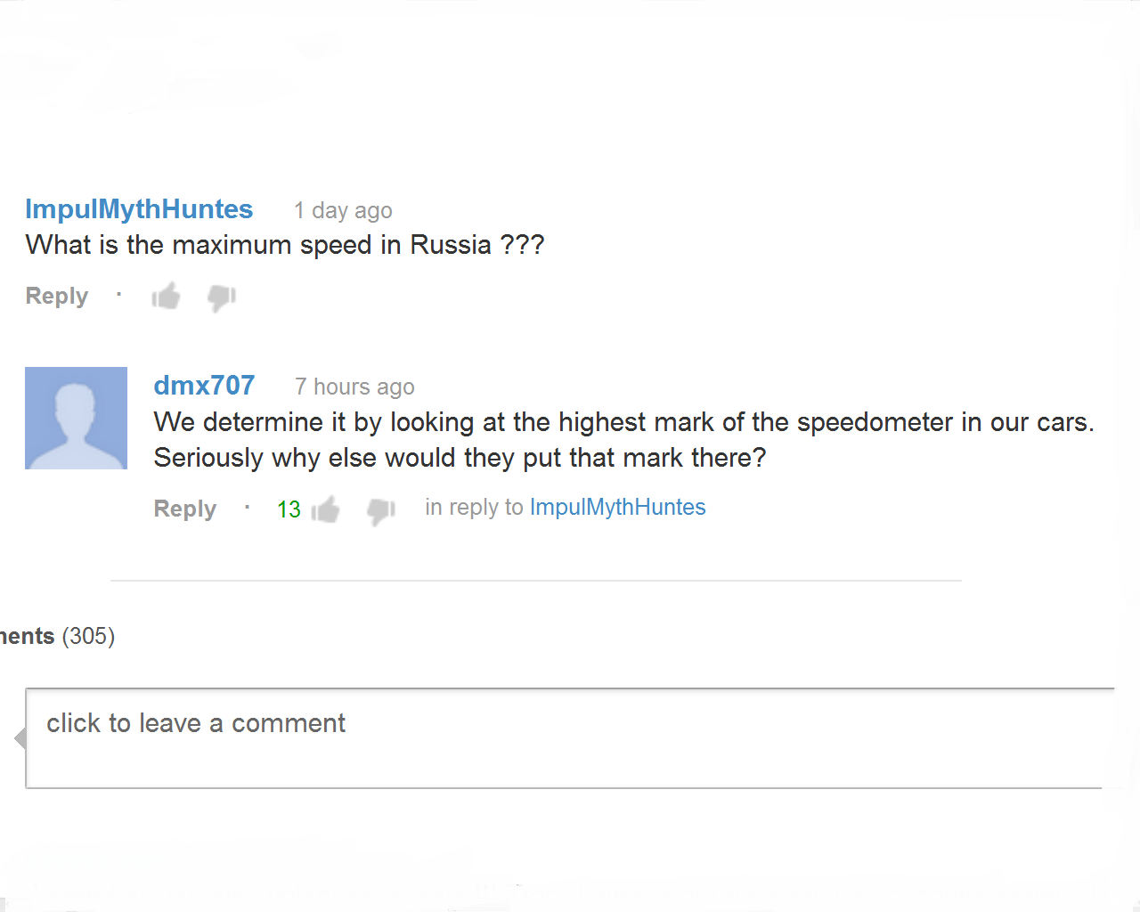 From Russia. Meanwhile In soviet russia.... 1 day ago What is the maximum speed in Russia P?? Reply 7 hours ago We determine it by looking at the highest mark o