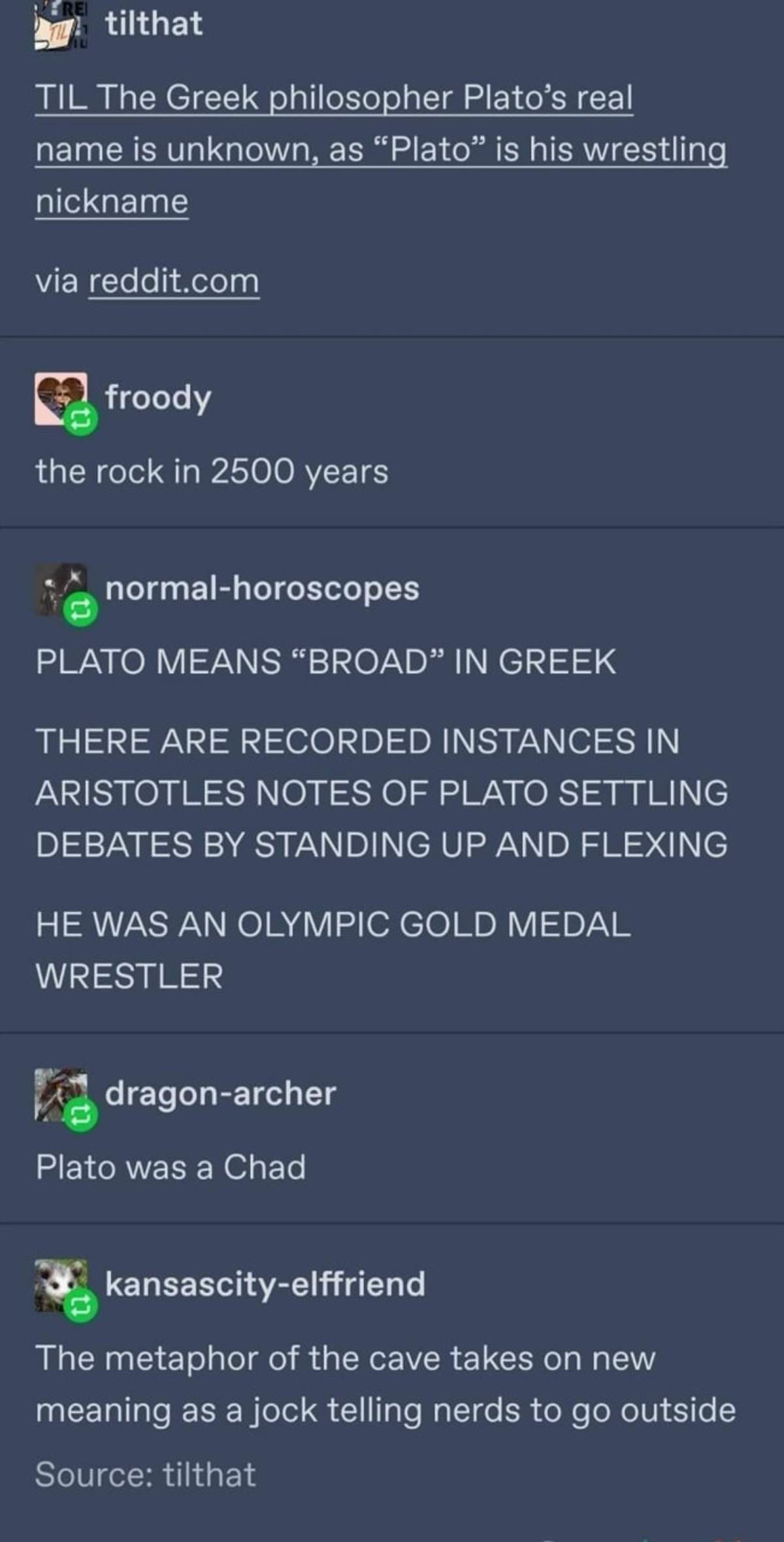 Gainz like Plato. .. >barges into conversation >starts flexing >refuses to leave