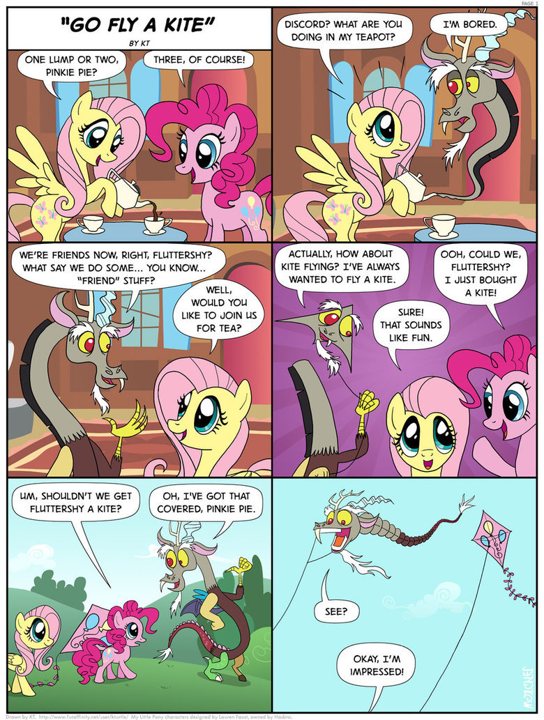 """Go Fly a Kite. . ONE LUMP OR TWO, PINKIE PIE? THREE, OF COURSE! WE' RE FRIENDS NOW, RIGHT. ? WHAT SAY WE no SOME... YOU KNOW... FRIEND"""" STUFF? WOULD YOU LIKE TO"""