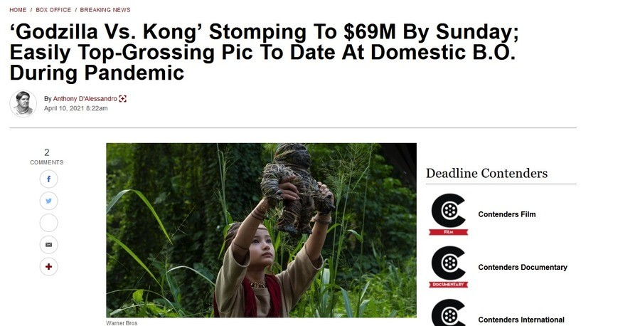Godzilla vs Kong smashes box offices, gets 69 million. .. nice