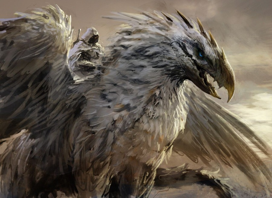 """Griffin Rider by Antonio J. Manzanedo. .. Empire soldier: """"My Lord, reinforcements from Reikland have have arrived to help us hold back the greenskins. They appear to be riding griffons"""" Empir"""