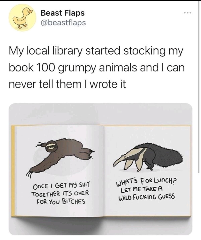 Grumpy Animals. .. its funny because they swear