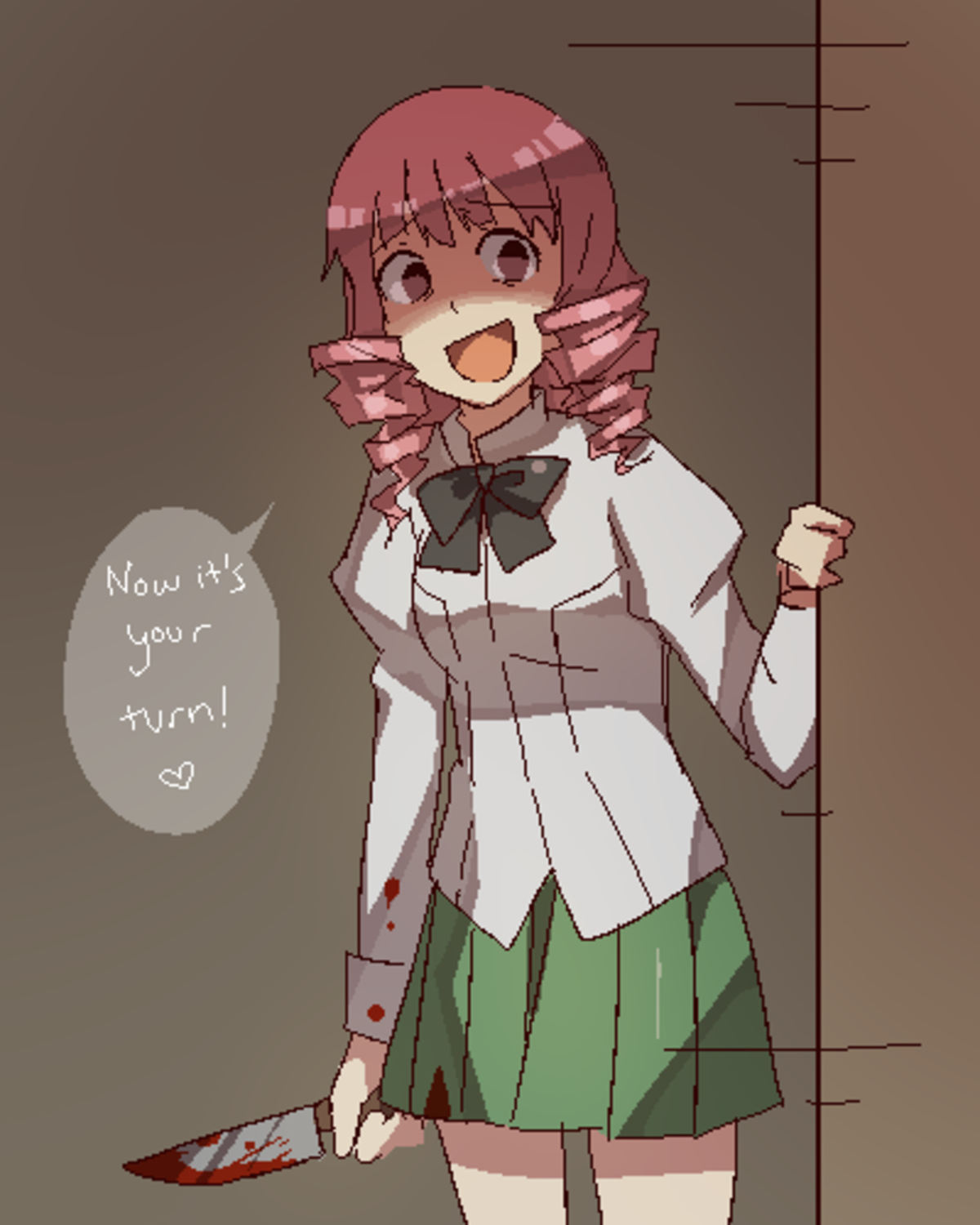 Guess you gave her too much comfort. ..  Run Hisao. A heart attack is less painful than what she has planned